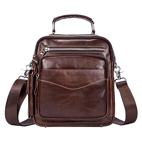 Gtuko Crossbody Bags Men Genuine Leather Messenger Bags Shoulder Bag Zipper Bags Vintage Casual Leather Flap Bag 389 Coffee Coffee