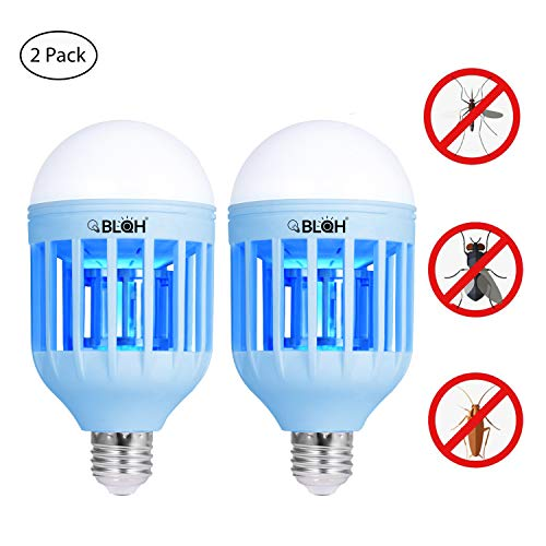 BLQH [2 packs] Bug Zapper Light Bulb,Insect Killer,Mosquito Zapper,Fly Killer,Mosquito Zapper LED Lamp,Electronic Insect Catcher Trap for Indoor Outdoor Home Garden Kitchen Backyard Porch Patio by BLQH
