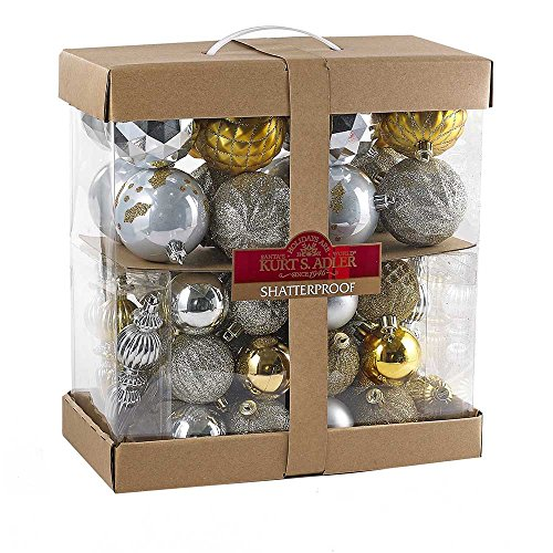 Kurt Adler Silver, Gold, and Champagne Kit-58 Tree Trim Kit, 58 Pieces