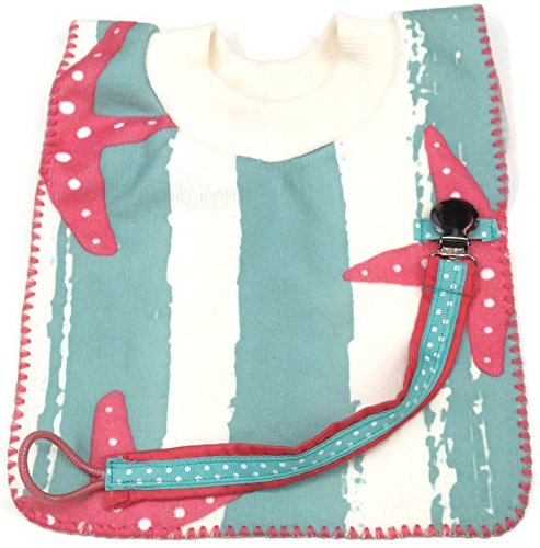 Handmade Starfish Ocean Beach Baby Bib Bundle (2 pcs) Bib and Pacifier Clip Holder
