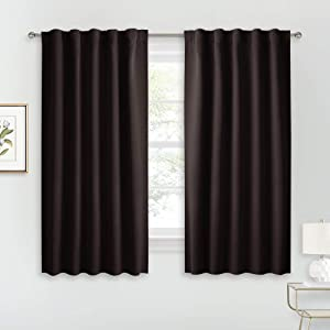 RYB HOME Blackout Curtains for Cafe - Back Tab Top Design for Easy Install, Energy Saving Window Treatment Kitchen Curtain Insulated Panels for Bedroom Dining, 42 W x 54 L, Brown, 2 Pcs