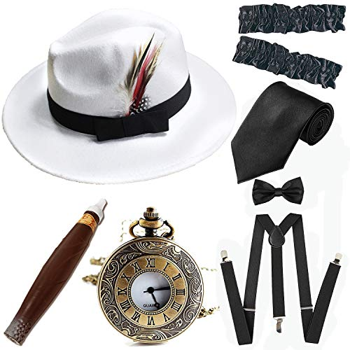 1920s Trilby Manhattan Fedora Hat, Plastic Cigar/Gangster Armbands/Vintage Pocket Watch,Suspenders Y-Back Trouser Braces,Pre Tied Bow Tie,Tie,White&Black