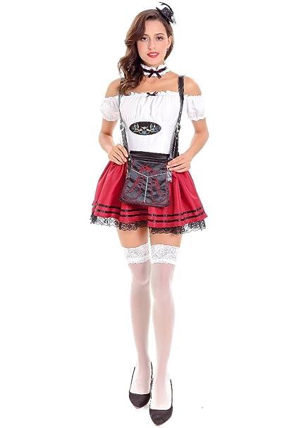 BOZEVON Mujer Sexy Club Nocturno Bar Maid Uniforme Traje de Cosplay Ropa de  Fiesta de Halloween Oktoberfest Vestidos Dirndl fbb07bb0f1f