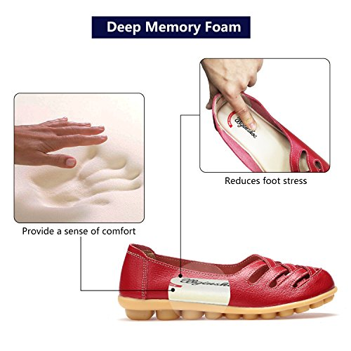 Flat Foam 003 Moccasins with Driving Insole Shoes Memory Women's Casual BTDREAM Slip Boat Leather red Loafers on xSW0wgBHOq