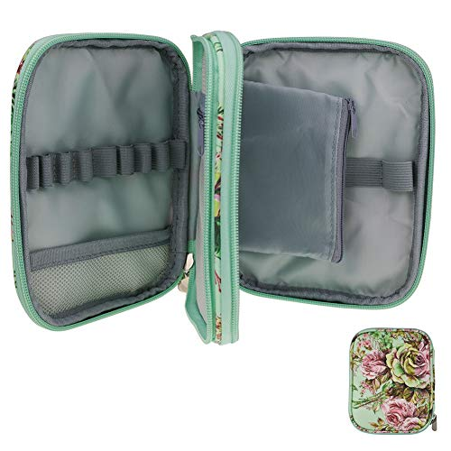 (Katech Crochet Hook Case Empty Zipper Bags Organizer Portable Travel Crochet Storage Bag with Web Pocket and Crochet Holders Slots for Carrying Various Crochet Needles and Knitting Accessories (Green))