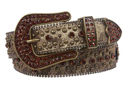 Snap On Western Cowgirl Alligator Rhinestone Fleur De Lis Studded Leather Belt Size: L/XL - 39