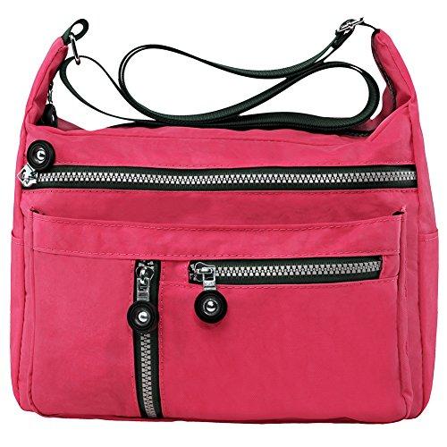 Zbeibei Women's Nylon Shoulder Bags Crossbody Messenger Bags Casual Travel Handbag(601,xiguahong) (Fabric Handbags)