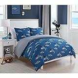 3 Piece Kids Blue Grey Shark Themed Comforter Full Queen Set, Fun All Over Playful Sharks Wearing Top Hat Bedding, Under Water Ocean Creature Pattern, Polyester, Gray