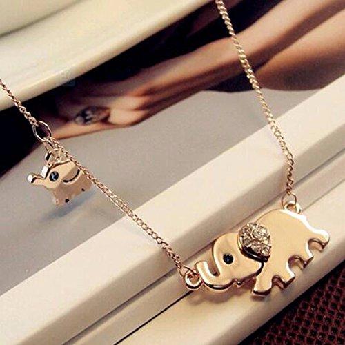 gold-cute-elephant-family-stroll-design-fashion-women-charming-crystal-chain-necklace-chocker-neckla