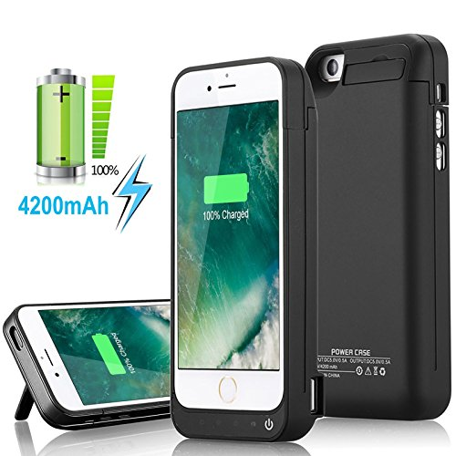 Yellowknife Certified Battery Case iPhone 5C/SE/5S/5 [4200mAh] Built in USB Power Bank Protective Charger Case,Capacity (Up to 2.5X Extra Battery) -LED Indicator Light Black [24 Month Warranty and Screen Protector Included]
