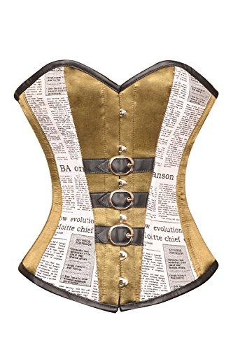 所持ペックフォアマンAlpine Yellow Satin Newspaper Print Cotton Leather Belt Overbust Corset Costume
