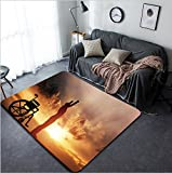 Vanfan Design Home Decorative 264371396 A disabled man standing up from wheelchair at sunset Positive concept of cure recovery medical miracle hope insurance etc Modern Non-Slip Doormats Carpet for