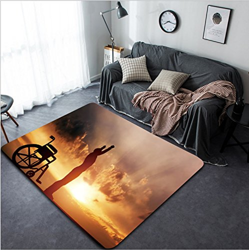 Vanfan Design Home Decorative 264371396 A disabled man standing up from wheelchair at sunset Positive concept of cure recovery medical miracle hope insurance etc Modern Non-Slip Doormats Carpet for (Wheelchair Standing Up)