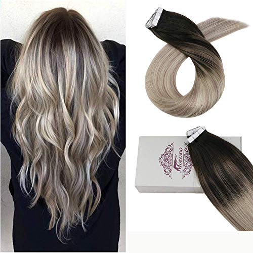 Moresoo 14 Inch Full Head Tape in Hair Extensions Human Hair Dip Dye Hair Extensions Color #1B Off Black Fading to #18 Ash Blonde and #60 Platinum Blonde Tape in Hair Extensions 100g/40pcs