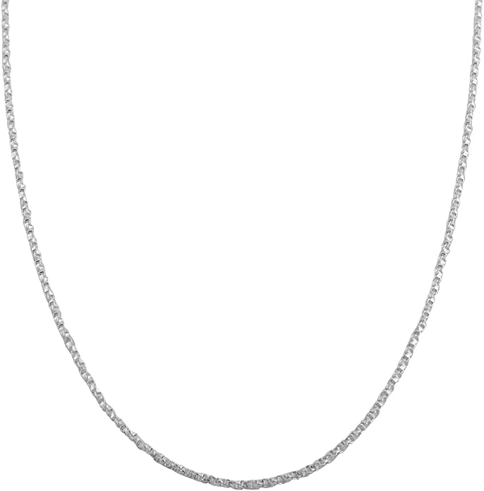 16 18 20 24 inches 1mm Twisted Box Chain Sterling Silver