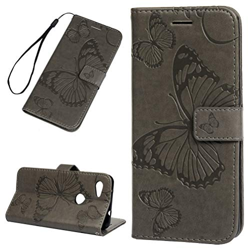- Google Pixel 3A Case, Floral Butterfly Wallet Case PU Leather Magnetic Flip Cover Shock Resistant Flexible Soft TPU Slim Protective Bumper Card Slots Kickstand Lanyard for Google Pixel 3A Gray