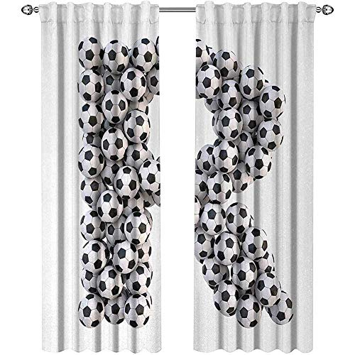 Letter R, Curtains Darkening Blackout, Soccer Themed Pattern Abstract Alphabet Design Uppercase Character R Sign, Curtains Girls Bedroom, W108 x L96 Inch, Black and White