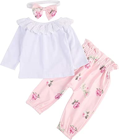 BOBORA Bebé Niñas Camiseta Blanca de Manga Larga + Pantalones de Flores + Diadema por 0-18 Meses