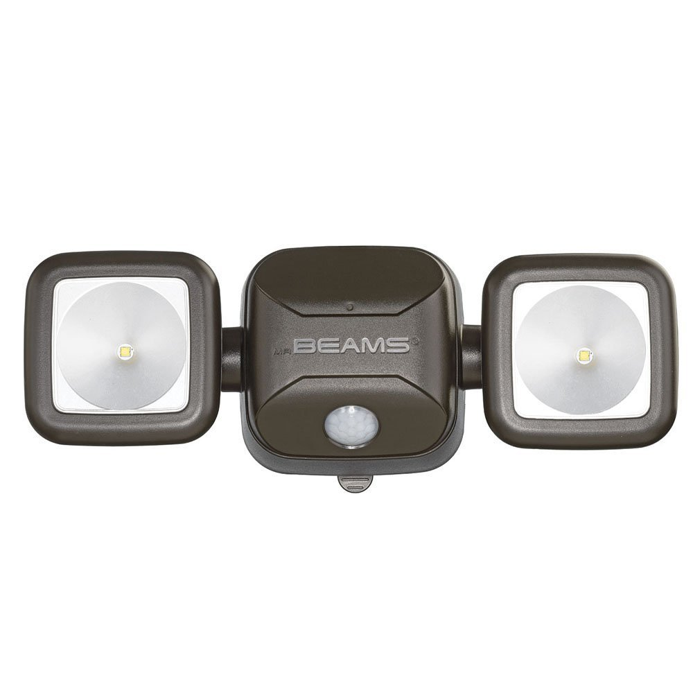 Mr. Beams MB3000 High Performance Wireless Battery Powered Motion Sensing Led Dual Head Security Spotlight, 500 Lumens, Brown