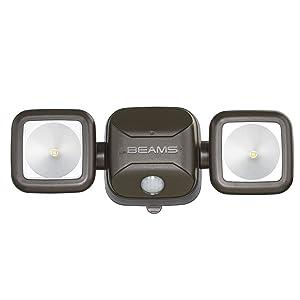 Mr. Beams MB3000 High Performance Wireless Battery Powered Motion Sensing Led Dual Head Security Spotlight, 500 Lumens, Brown