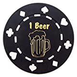 "Pack of 25 Black ""1 Beer"" Bar Token Poker Chips by Brybelly"