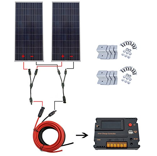 300W Solar System 2pcs 150W Solar Panel w/ 20A Charge Controller for Home RV by ECO LLC