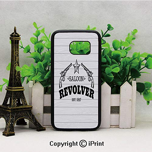 Vintage Revolvers Western Saloon Bar Theme Star Abstract Wooden Texture Print Decorative Samsung Galaxy S7 Case Hard Back Shock Drop Proof Impact Resist Protective Case for Samsung S7 Black and White