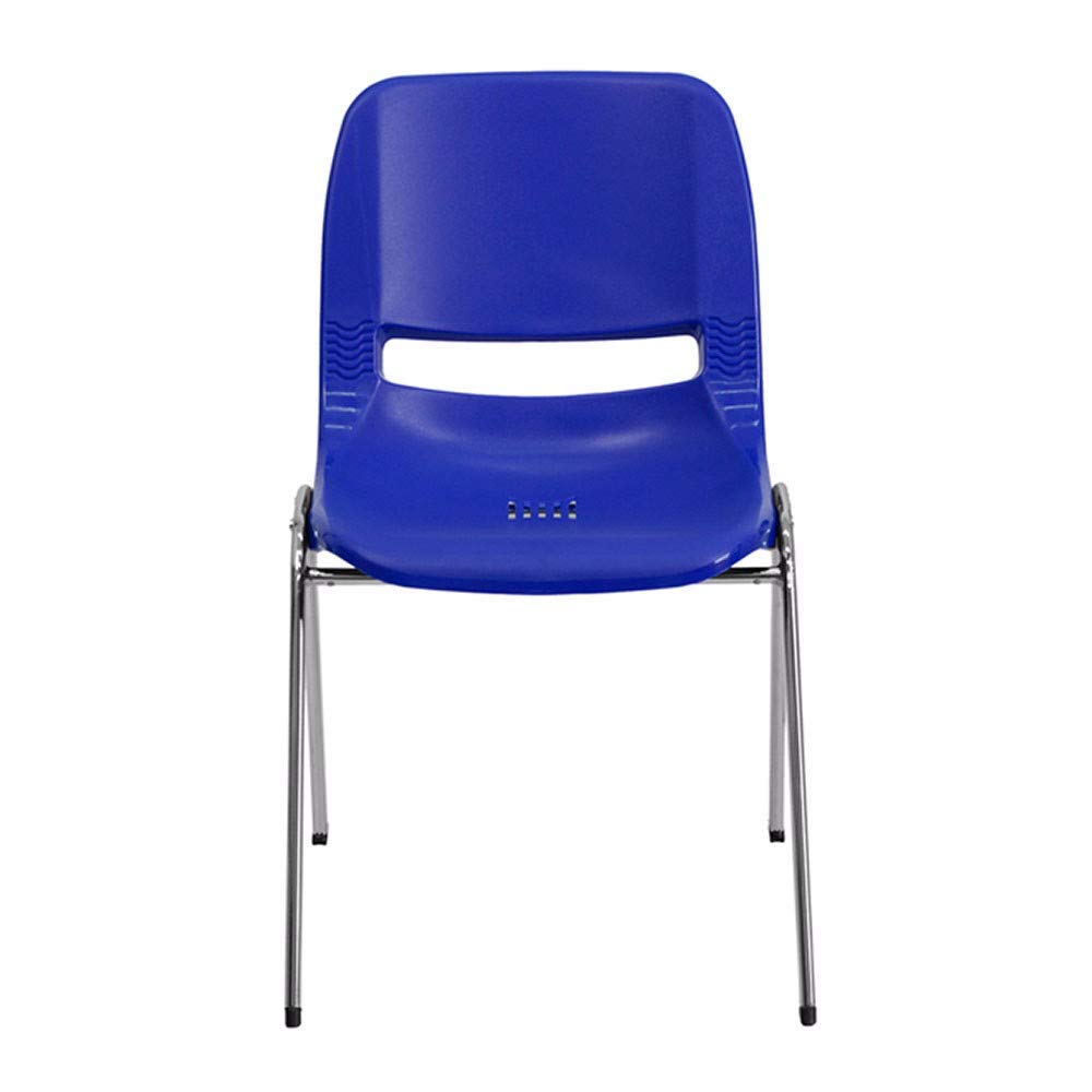 Offex 18'' Seat Height Navy Ergonomic Shell Stack Chair with Chrome Frame