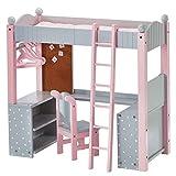 Teamson Polka Dots Princess Doll College Dorm Double Bunk Desk, Grey, 18''