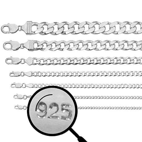 Harlembling Real Solid 925 Sterling Silver Cuban Chain - Flat Curb Necklace 2-14mm - Great for Pendants Or Wear Alone - 3-220 Grams Heavy - Men's Or Ladies - Italy Made (18, 8mm) ()