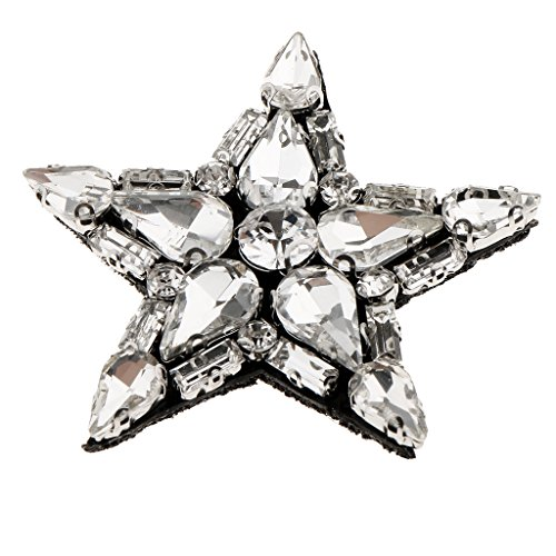 MonkeyJack Star Beads Handmade Crystal Rhinestones Sew on Appliques Motif Patches DIY Decoration - Clear