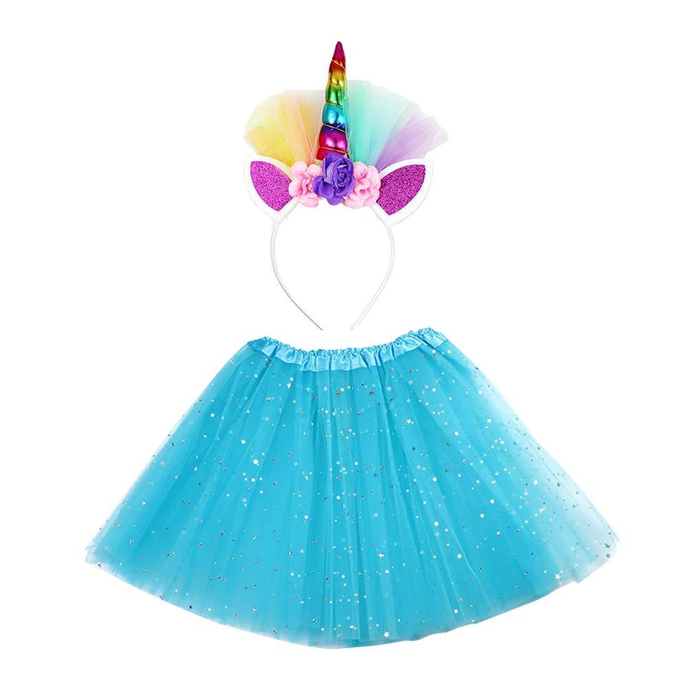 Amosfun 2 Pezzi Tutu Gonna Gonna Garza Stelle con Fascia per Costume da Bambina