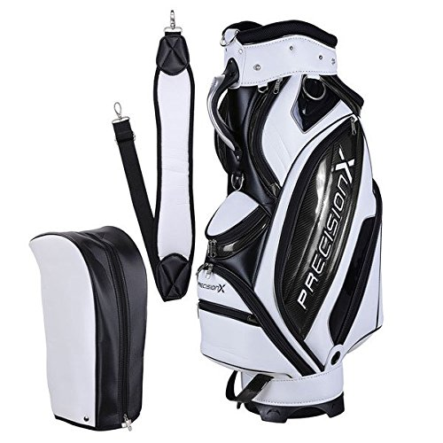 TRIPREL INC. 5-Way Golf Club Stand & Carry Bag w/ Bag Cap - White w/ Black Trim by Triprel Inc (Image #1)