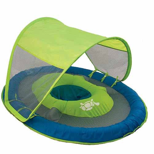 Swimways Baby Spring Float with Canopy - Blue and Green with