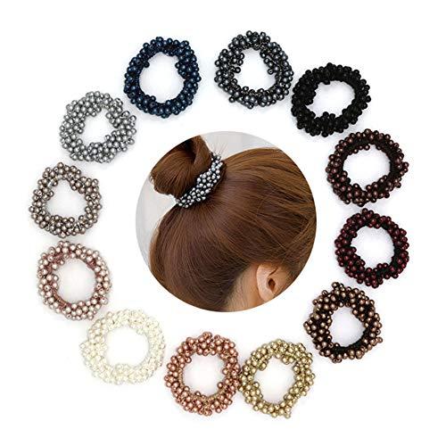 - Xiwstar 9Pcs Women Girls Fashion Beaded Bracelet Hair Ties Hair Bands Ropes Scrunchie Ponytail Holder