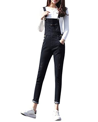 7db3ed1f8b MISSMAO Women Casual Dungaree Denim Washed Jeans Pants Demin Overall Ladies  Jumpsuit Black 31  Amazon.co.uk  Clothing