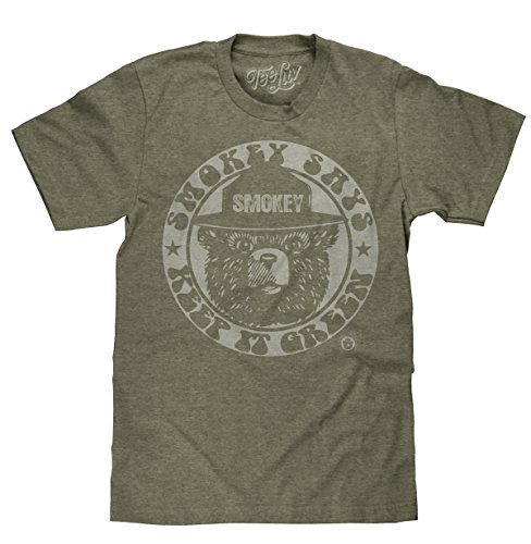 Tee Luv Smokey Bear T-Shirt - Keep It Green Retro Smokey Bear Shirt (Large) ()