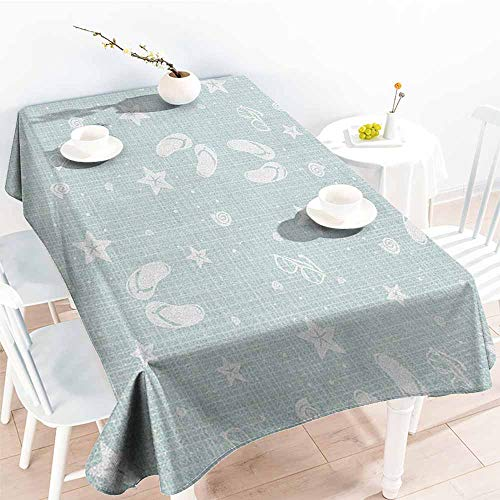 EwaskyOnline Rectangular Tablecloth,Aqua Beach Theme Design Shells Starfishes Flip Flops Glasses Summer Holiday Image,Party Decorations Table Cover Cloth,W54x72L, Seafoam and White]()