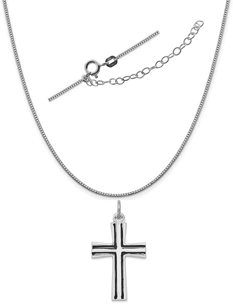 Sterling Silver Anti-Tarnish Treated Enameled Latin Cross Charm on an Adjustable Chain Necklace