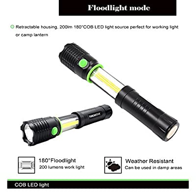 Battery Powered LED Flashlight Multi-functional Telescoping -Dual mode, 60°300lm Spotlight and 180°200lm Floodlight- Aluminum Body with Magnet Base-Suitable for Camping, Car Repair, Blackout and Emergency