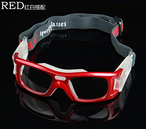FOME OBAOLAY Protective Safety Glasses Eye Protection Comfort Breathability Anti shock High Qulaity Outdoor Sports Goggles Basketball Glasses 0866 Red/White + FOME Gift
