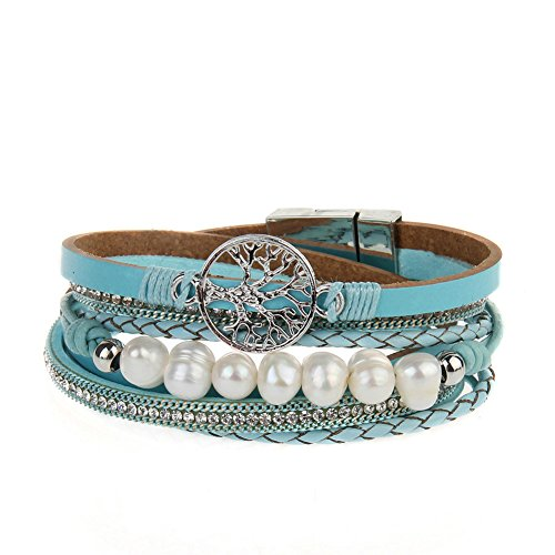 Jenia Women's Leather Wrap Bracelet Tree of Life Multilayer Rope Cuff Bracelets Braided Bangles Pearl Boho Jewelry Handmade Gift for Kids, Teens Girls, Ladies, Boys - Blue