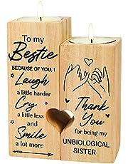 Delisouls Pusty świecznik w kształcie serca, 'To My Bestie' – 'Smile A Lot More – świecznik ze świecą, znaczący prezent dla najlepszego przyjaciela najlepszej przyjaciółki
