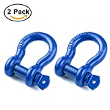 "Shackles 7/8"" (2 PACK) RETECK D ring Shackle Rugged 6.5 Ton Capacity Bow Screw Heavy Duty D Ring for Jeep Vehicle Recovery, Blue"