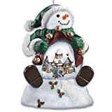 Thomas Kinkade Holiday Scene Snowman Snowglobe Ornament Set by The Bradford Exchange