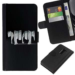 A-type (Enfriar Animal Elefante Negro Grey Art) Colorida Impresión Funda Cuero Monedero Caja Bolsa Cubierta Caja Piel Card Slots Para LG G2 D800