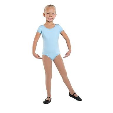 f9880caec Amazon.com  Danshuz Light Blue Short Sleeve Cotton Dance Leotard ...