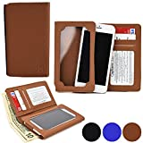 Cooper Cases(TM) Infinite Wallet Acer Liquid E1 / E2 / E3 (E380) Case in Brown (PU Canvas Cover, Built-in Screen Protector, Card Slots, ID Holder, Billfold)
