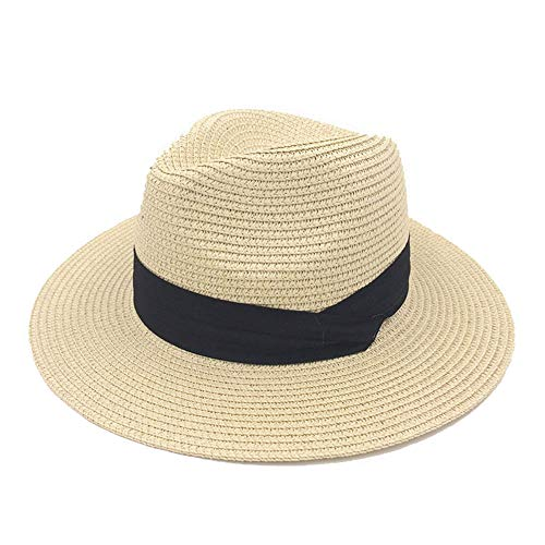 (Women Wide Brim Straw Panama Roll up Hat Fedora Beach Sun Hat UPF50+ (Beige, OneSize))