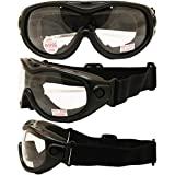 All-Star Motorcycle ATV MX Tactical ''Over-Prescription-Glasses'' Goggles Gloss Black Frames Clear Lenses ANSI Z87.1+